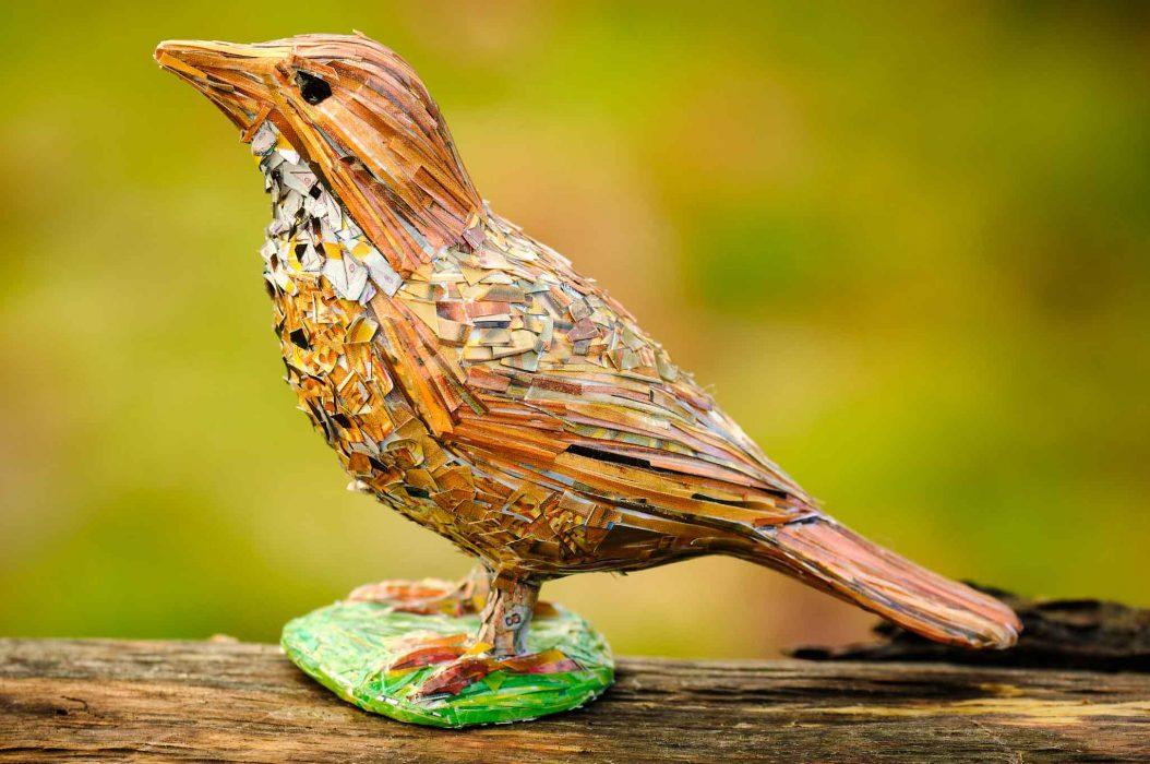 3d collaged bird